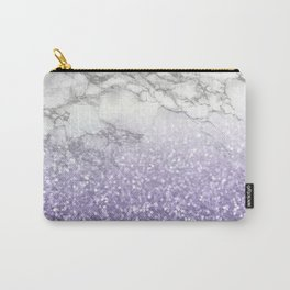 She Sparkles - Violet Purple Glitter Marble Carry-All Pouch