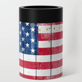 Distressed American Flag On Wood Planks - Horizontal Can Cooler