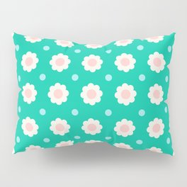 White and pink flowers with blue dots on turquoise background Pillow Sham