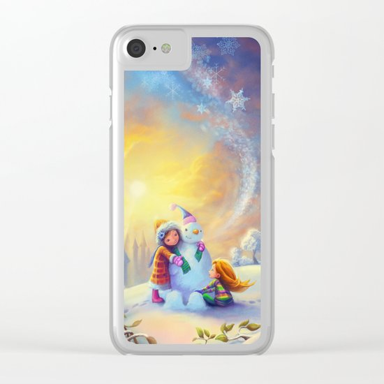 Building a Snowman at Christmas Clear iPhone Case