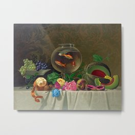 Still Life of Roses Fruit and a Bowl of Goldfish by Milne Ramsey Metal Print