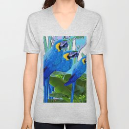BLUE SURREAL BLUE MACAWS JUNGLE GRAPHIC Unisex V-Neck