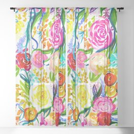 Bright Colorful Floral painting Sheer Curtain