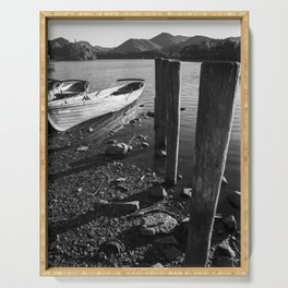 rowing boats on derwentwater Serving Tray
