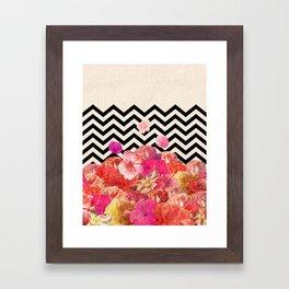Chevron Flora II Framed Art Print