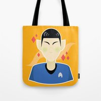 spock Tote Bags featuring spock by monsternist