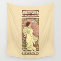 text Wall Tapestries featuring La Dauphine Aux Alderaan by Karen Hallion Illustrations