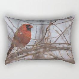 Rainy day cardinal Rectangular Pillow
