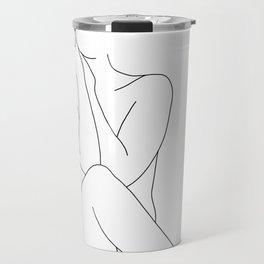 Nude figure line drawing illustration - Georgia Travel Mug