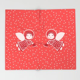 Angels on the red Throw Blanket