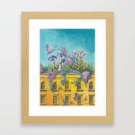 Yellow Building in Pilsen with Natural Growth Framed Art Print