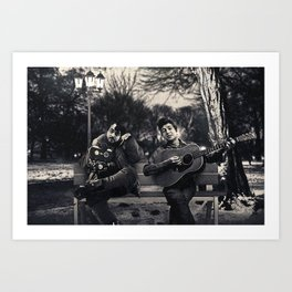 Bob Dylan & Stanley Kubrick Sittin' on a Bench Art Print