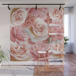 Soft Pink Roses Wall Mural