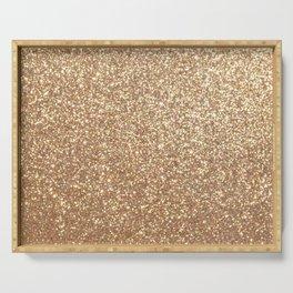 Copper Rose Gold Metallic Glitter Serving Tray