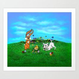Easter - Spring-awakening - Puppy Capo with Rabbit and Chick Art Print
