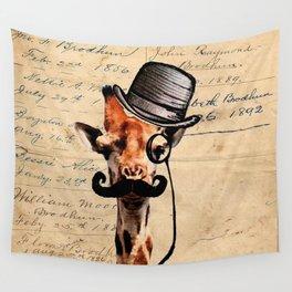 Giraffe Mustache Monocle Tophat Dandy Wall Tapestry