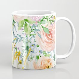 "Oh la la "" Fashionable Watercollor Floral Pattern Coffee Mug"