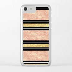 Simple rose gold stripes pattern Clear iPhone Case