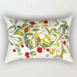 Vintage Scientific Bird & Botanical Illustration Rectangular Pillow