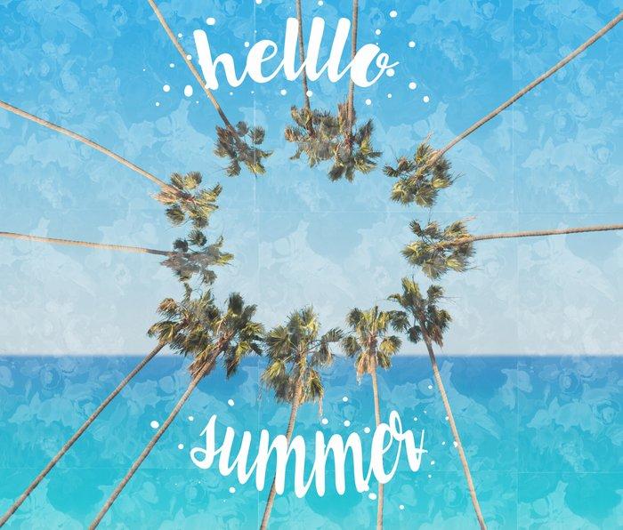 hello summer palm trees design 2 Metal Travel Mug