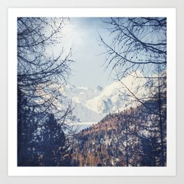 View of Snow Capped Mountains - Winter Peaks Art Print