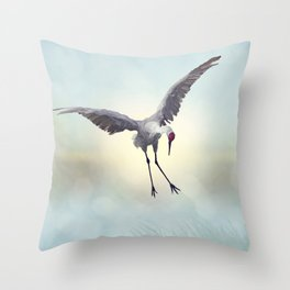 Sandhill Crane painting.Digital art. Throw Pillow