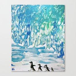 Penguin Family on Thin Ice Canvas Print