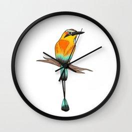 Motmot Bird Water Color & Ink Illustration Wall Clock