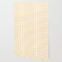 Blanched almond - pink color - White Lines Grid Pattern Wallpaper