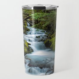 Nature Landscape, Crystal Creek, Waterfall, Mt. Rainier National Park Travel Mug