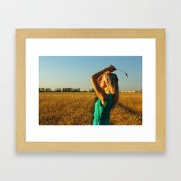 girl on the field Framed Art Print