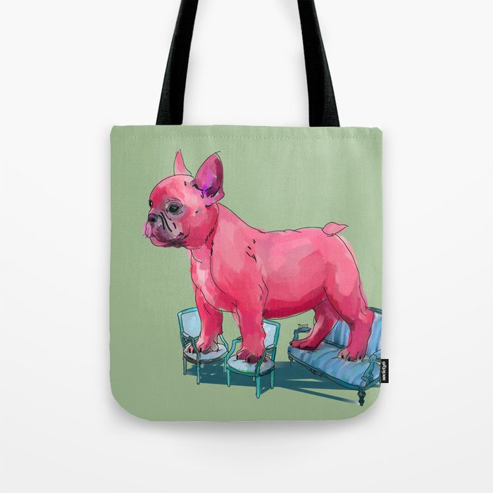animals in chairs # 23 French Bull Dog Tote Bag