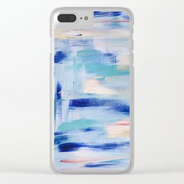 Electric blue waves: minimal, acrylic abstract painting in cobalt, cyan and peach / Variation Two Clear iPhone Case