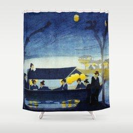 Wasen at Night - Vintage Japanese Art Shower Curtain