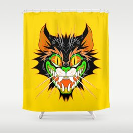 SPOOKY CAT (Smaller version YELLOW) Shower Curtain