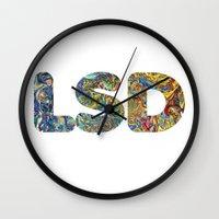 lsd Wall Clocks featuring Simply LSD by Teo Sharkson