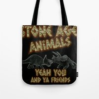 queens of the stone age Tote Bags featuring Stone age Animal by lilbudscorner