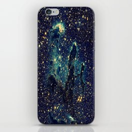 Pillars of Creation GalaxY  Teal Blue & Gold iPhone Skin