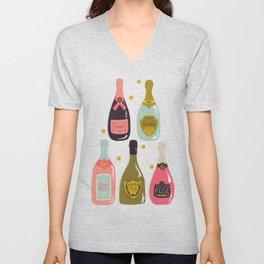 Champagne Cheers Blue Unisex V-Neck