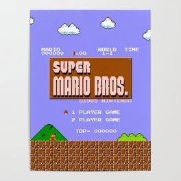 Super Mario Bros. (NES) Title Design Poster