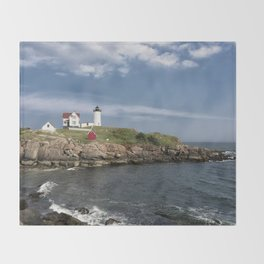 Nubble Lighthouse in Summer Throw Blanket