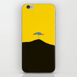 Colorful Umbrella On A Black Mountain In A Yellow Background - #society6 #buyart iPhone Skin