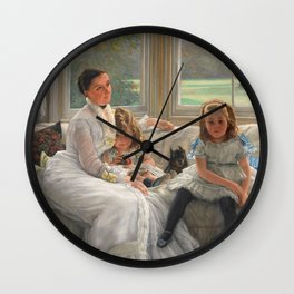 James Tissot - Portrait Of Mrs Catherine Smith Gill And Two Of Her Children Wall Clock