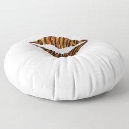 Tiger Pattern Lips Stripes Fur Mouth Animal Print Floor Pillow