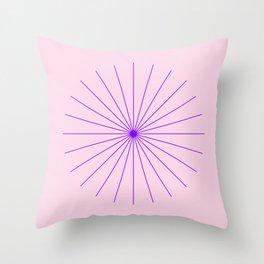 SpikeyBurst - Pastel Pink Background with Purple Throw Pillow