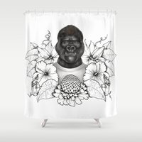 gorilla Shower Curtains featuring Gorilla by Melanie Blanchard