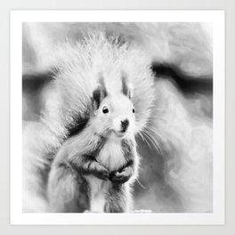 squirrel digital oil paint dopbw Art Print