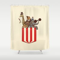 pocket fuel Shower Curtains featuring Pocket Circus by Sachpica