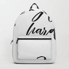 hustle hard - white Backpack