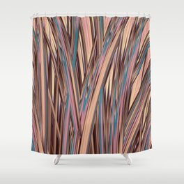 LYON pink peach turquoise brown glowing tall grass Shower Curtain
